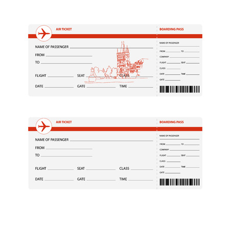 plane tickets: Blank plane tickets for trip to Prague isolated vector illustration