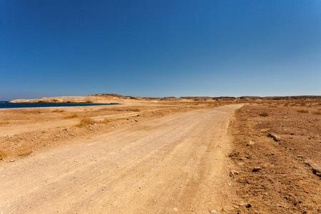 mohammad: A desert road in Ras Mohammad, Egypt. Stock Photo