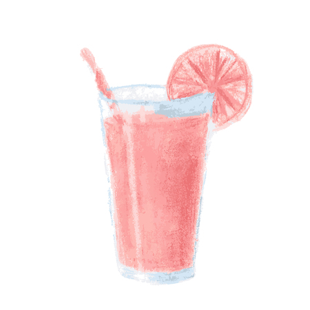 drink: Pink cocktail in glass drawn pastel isolated on a white background. Vector illustration. Illustration