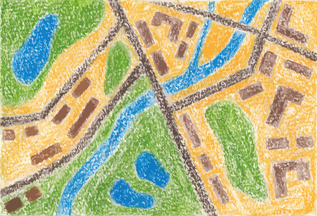 cartographer: Trace of street map of town. Color pencils. Vector illustration.