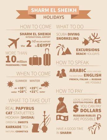 el sheikh: Holidays in Sharm el Sheikh infographics. Vector illustration. Illustration