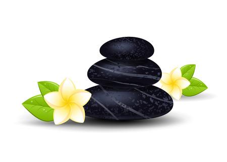 flor aislada: Piedras del balneario y flor de frangipani aislado en un fondo blanco. Ilustraci�n del vector.