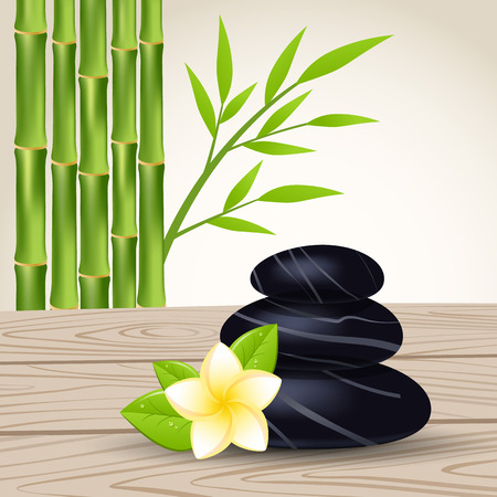 bamboo therapy: Spa stones and frangipani flower isolated on a white background. Vector illustration. Illustration