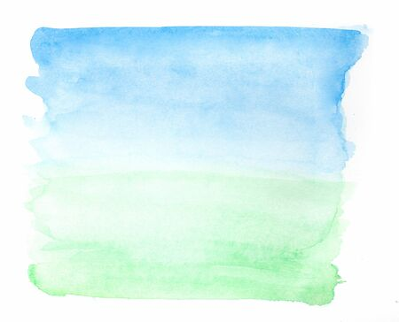 green grass and blue sky: Abstract summer watercolor natural landscape - sky and field Stock Photo