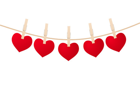 Red hearts with clothespins hanging on clothesline isolated on white background. Valentines Day Illustration