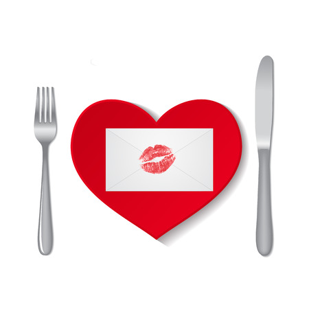 lipstick kiss: Envelope with lipstick kiss on red plate isolated on white background Illustration