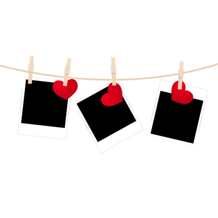 Vintage photos frame on the clothesline with hearts. Vector illustration. Illustration