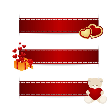 ribbon box: Red ribbons with decorations for St. Valentines Say. Vector illustration.