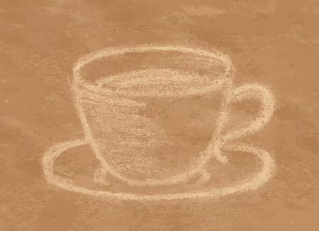 craft paper: Cup of coffee or tea, drawing with pastel chalk on craft paper