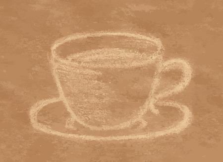craft paper: Taza de caf� o t�, dibujo con tiza pastel sobre papel artesanal Vectores