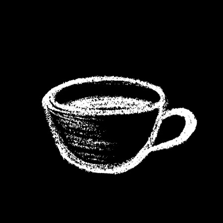 black coffee: Cup of coffee or tea, drawing with chalk on black board