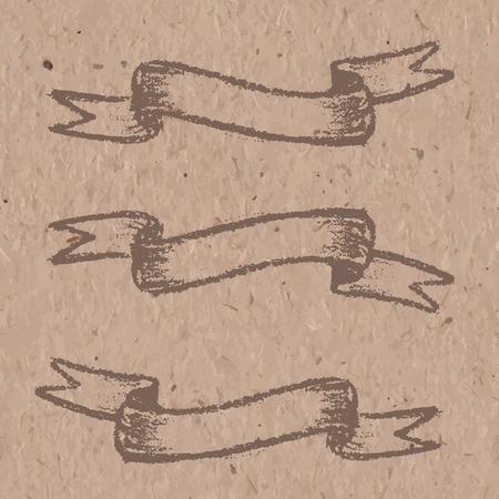 craft paper: Conjunto de banderas de color marr�n, dibujo con tiza en el papel del arte Vectores