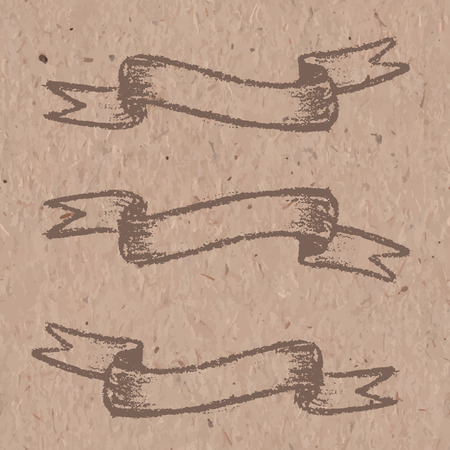 craft paper: Set of brown banners, drawing with chalk on craft paper