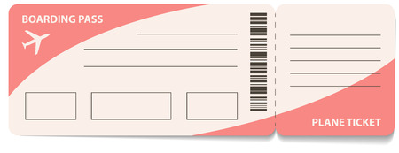commercial painting: Blank plane ticket for business trip travel or vacation journey isolated vector illustration