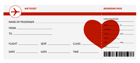 boarding card: Blank plane tickets for romantic trip isolated on white background. Vector illustration