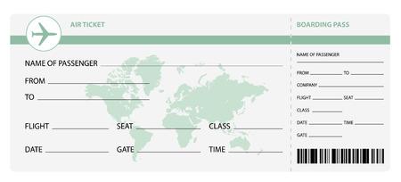 viaje de negocios: Billete de avi�n en blanco para viajes viaje de negocios o vacaciones viaje aislado ilustraci�n vectorial