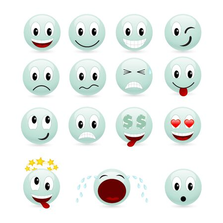laugh emoticon: Set of green smiles. Vector illustration, isolated on a white.