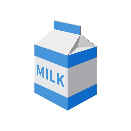 carton de leche: paquete de leche aislado en un fondo blanco. Ilustración del vector.