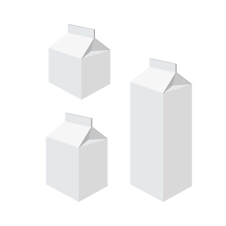packets: Milk packets isolated on a white background. Vector illustration.