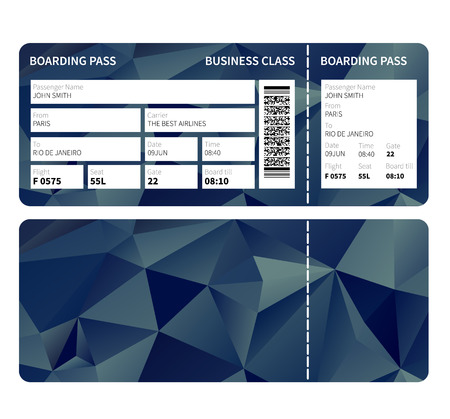 Airline boarding pass ticket for business class. Vector illustration. Vettoriali
