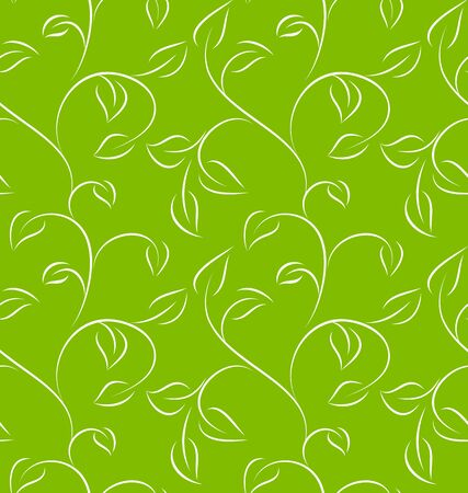 leafy: Seamless green leafy pattern on green background. Vector illustration.