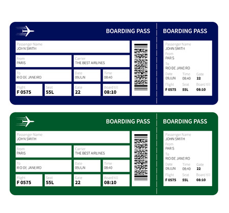 airplane ticket: Airline boarding pass ticket for traveling by plane. Vector illustration.
