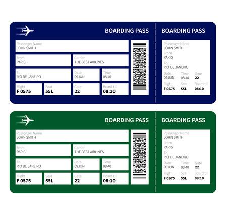 Biglietto d'imbarco aerei per i viaggi in aereo. Illustrazione vettoriale.