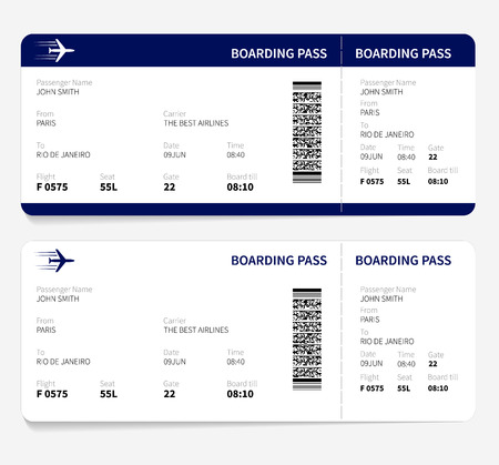 boarding card: Airline boarding pass ticket for traveling by plane. Vector illustration.