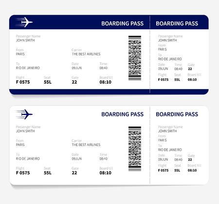 Biglietto d'imbarco aerei per i viaggi in aereo. Illustrazione vettoriale. Vettoriali