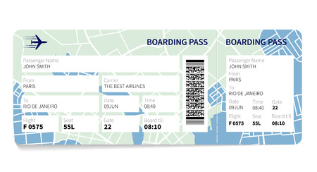 airplane: Airline boarding pass ticket with a map as a background. Vector illustration.