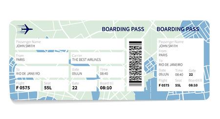 sello: Billete de la tarjeta de embarque de la aerol�nea con un mapa como fondo. Ilustraci�n del vector.