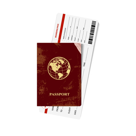 boarding card: International red passport with a boarding card. Vector illustration. Illustration