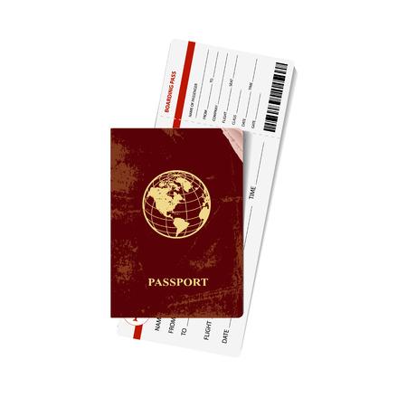 boarding card: Passaporto rosso Internazionale con una carta d'imbarco. Illustrazione vettoriale. Vettoriali