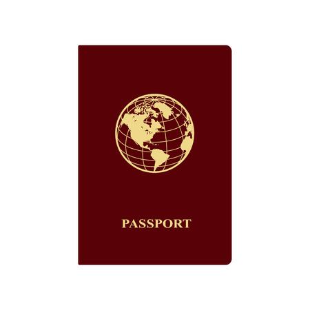地球のアイコンで赤いパスポートベクトルの図。