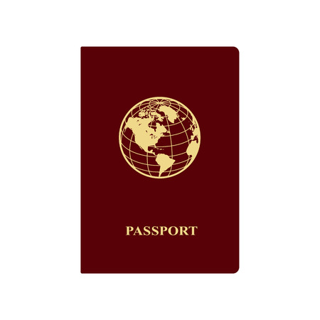 International red passport with icon of globe. Vector illustration. 向量圖像