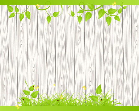 summer background: Green grass and leaves over wood fence background