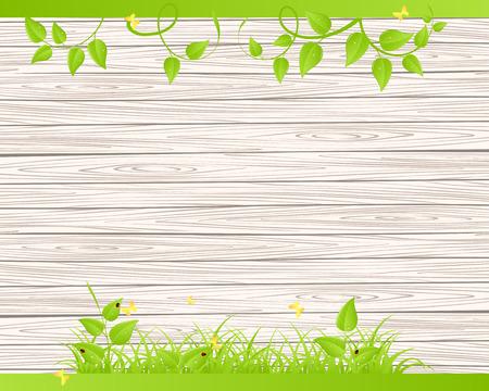 Groen gras en bladeren over houten hek achtergrond Stock Illustratie