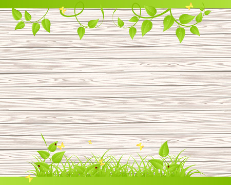 Green grass and leaves over wood fence background