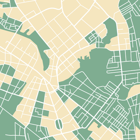 urban planning: Editable vector street map of town. Vector illustration.