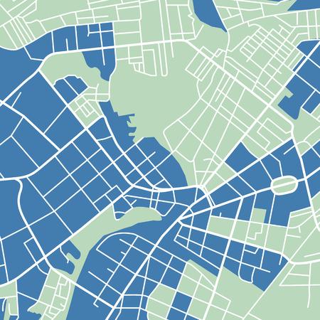 Editable vector street map of town. Vector illustration.