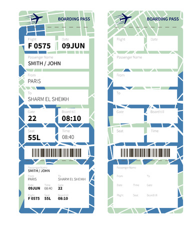 boarding: Airline boarding pass ticket with a map as a background. Vector illustration.