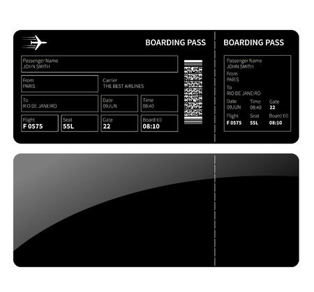 business class: Airline boarding card ticket for business class. Vector illustration.