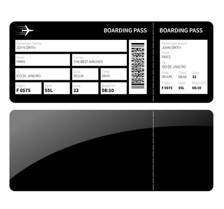 boarding card: Biglietto carta d'imbarco aerei per la classe business. Illustrazione vettoriale.