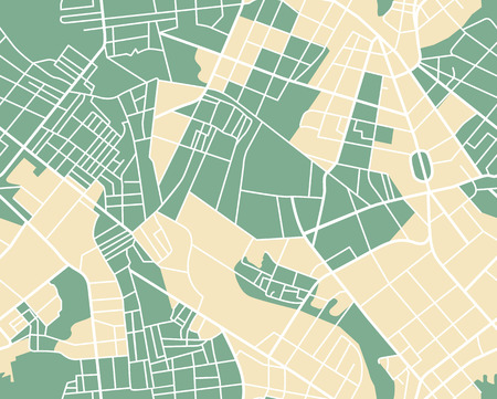 Editable vector street map of town as seamless pattern. Vector illustration.