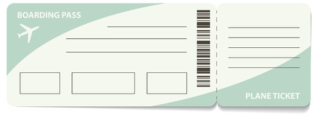 boarding card: Blank plane ticket for business trip travel or vacation journey isolated vector illustration