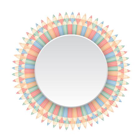 round frame: Round frame of color pencils. Vector illustration.