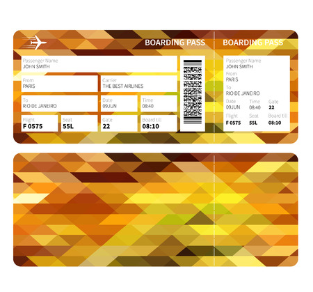 business class: Airline boarding pass ticket for business class. Vector illustration. Illustration