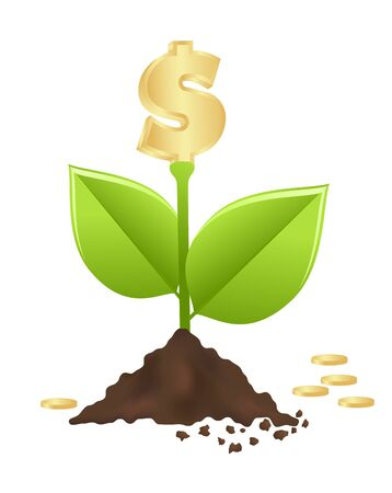 growing money: Growing investment coin money and green leaf. vector , Illustration Illustration