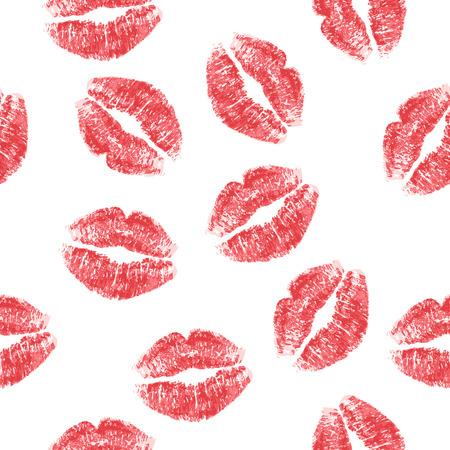 bacio: Seamless pattern con le labbra rosse su sfondo bianco. Illustrazione vettoriale. Vettoriali