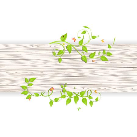 Ramas verdes y hojas sobre fondo de madera de la cerca Foto de archivo - 42483637